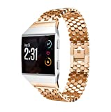 For Fitbit Ionic Band, Gotd Stainless Steel Replacement Sport Band for Fitbit Ionic Smart Fitness Watch Large Small Men Women (Rose Gold)