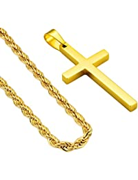 24inch Cross Pendant Necklace 18K Gold Plated 3mm Mens Stainless Steel Twist Rope Chain Necklace for Men Women