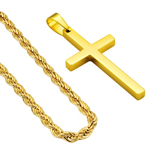 Gold Twist Pendant (24inch Gold Cross Pendant Necklace 3mm Mens Stainless Steel 18K Gold Plated Twist Rope Chain Necklace for Men Women (Gold))
