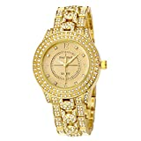 MINHIN Iced-out Studded with Diamond Wrist Watch Women Men Hip Hop Watch (Gold)