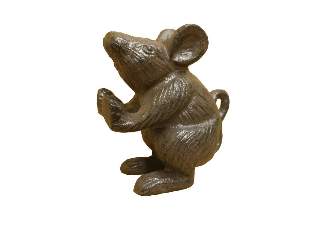 Handcrafted Model Ships Cast Iron Mouse Door Stopper 5'' - Door Stopper Decorative - Home Decor Animal