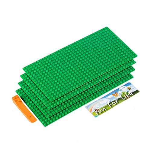 7.5' Action Figure (Lego-Compatible Brick Building Base 15'' x 7.5'' (4 Pack) Green Baseplate with a Brick Separator- by Fun For Life)