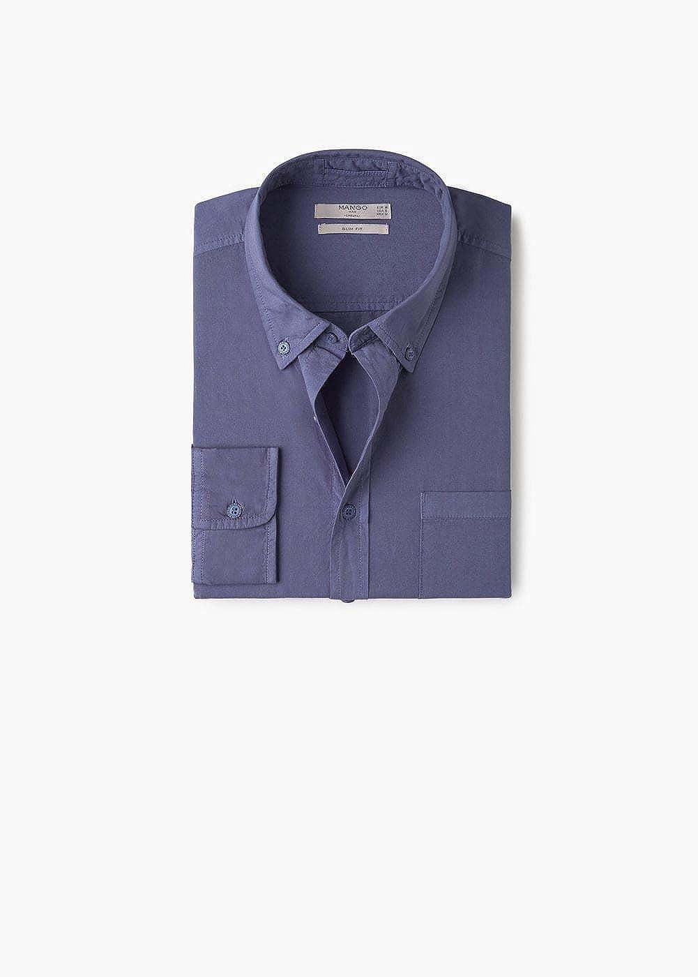 MANGO MAN - Camisa casual - para hombre azul indigo L: Amazon ...