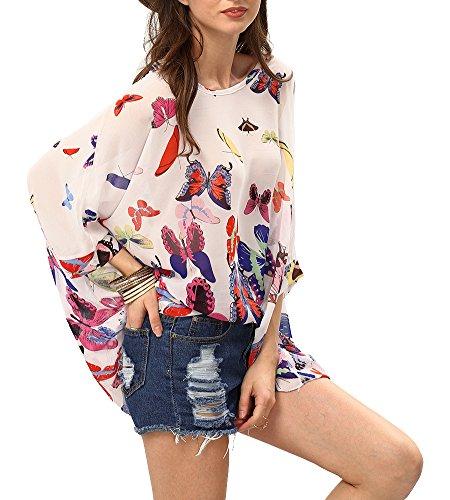 Women's Bohemian Style Batwing Sleeve Butterflies Printed Chiffon Caftan Poncho Tunic Top Beach Loose Shirt White