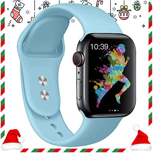 EXCHAR Compatible for Apple Watch Band 40mm, 38mm, for Apple Watch Series 4, 3, 2, 1, iWatch, Sport T, Edition with Soft Safety Silicone and Lightweight Design- S/M Light Blue