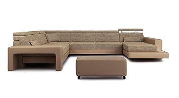 Couch u form braun  XXL Wohnlandschaft U-Form Stoff Leder sandbeige / braun Designsofa ...