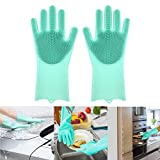 Magic Silicone Dishwashing Gloves with Wash Scrubber, Scrubbing Dish Washing Gloves for Cleaning The Home, Reusable Kitchen Gloves Heat Resistant