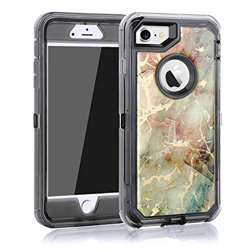 Maxcury Case for iPhone 8 iPhone 7 and iPhone 6, Hard PC Bumper + Soft TPU Back 3 in 1 Dual Layer Shock-Absorption Anti-Scratch Clear Case for Regular iPhone 6/6S/7/8 (Black, iPhone 6/6s/7/8)