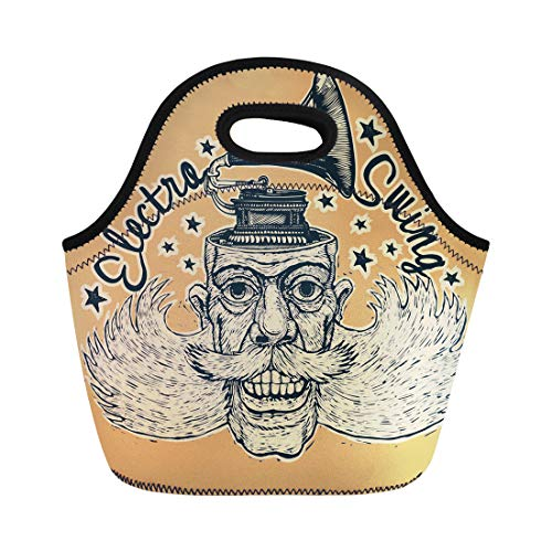 Semtomn Lunch Bags Music Electro Swing Lucky Dude Mustaches Sidewhiskers and Gramophone Neoprene Lunch Bag Lunchbox Tote Bag Portable Picnic Bag Cooler Bag