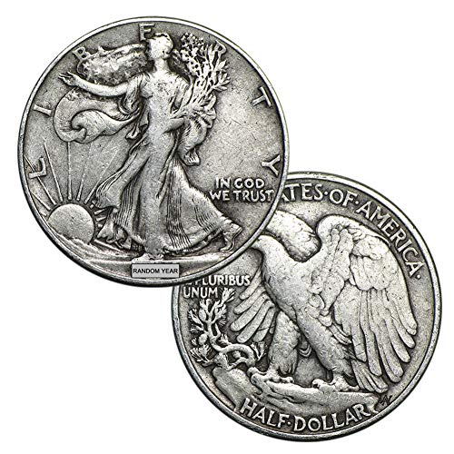 1916-1947 (Various) Walking Liberty Half Dollar 90% Silver Coin 50c Circulated