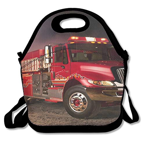 NEWINESS Adults Kids Fire Truck Wallpaper Insulated Neoprene Lunch Bag Zipper Adjustable Strap Lunch Backpack Lunch Organizer for School Travel Work Office Outdoor Picnic ()