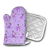 Nutcracker Dance Girl Xmas Kitchen Oven Mitts Oven Gloves for BBQ Cooking Set Baking Grilling Barbecue Microwave Machine