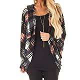 Sunward Women's Plaid Checker Print Open Front Cardigan Cute and Trendy, Long Sleeve Cardigan (Multicolor, XL)