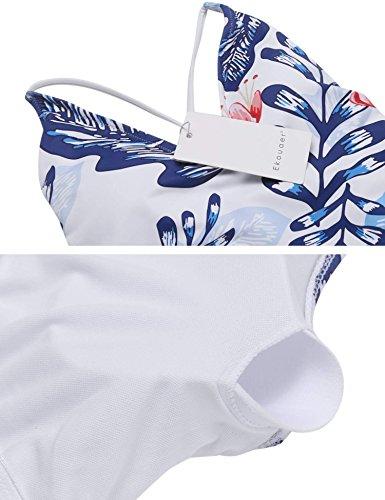 Profondo Sexy Blu Un Bagno Mare Push Monokini Costumi Stile Da Swiftt V Pezzo Set up Bikini di Donne Ferretto Spiaggia Fiore Bianco 5vqx61
