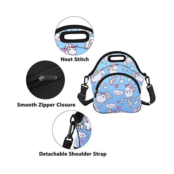 Neoprene Lunch Bag Reusable Tote Bag Insulated Lunch Box Adult Large Lunch Tote Handbag Fordable for Men & Women, Boys & Girls, 6