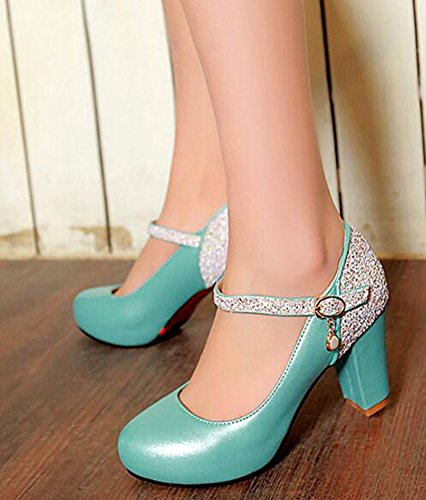 Pumps Ankle Heels Shoes Block High Sequined Strap Buckled Round Aisun Toe Blue Dress Stylish With Womens OWwqUzva