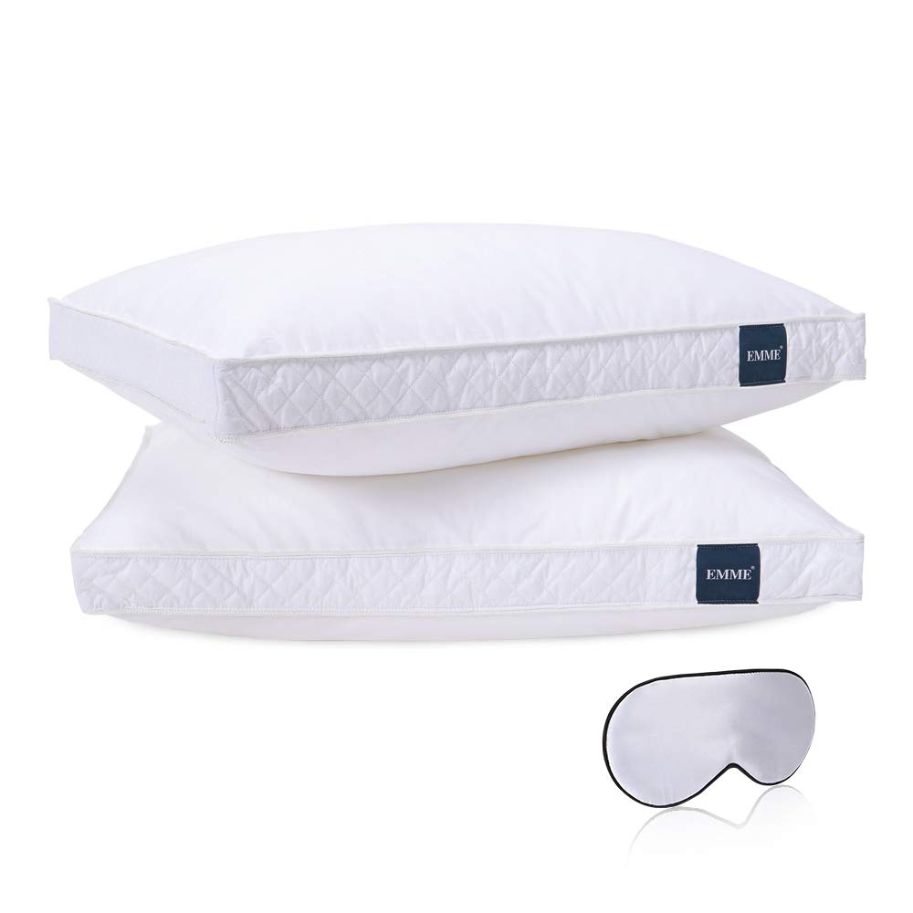 EMME Bed Pillows Set of 2 with Silk Mask Premium Adjustable Sleeping Pillow for Side & Back Sleeper Home and Hotel Collection