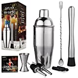 Image of Aozita Cocktail Martini Shaker Home Bar Set Includes 24 Oz Cocktail Shaker / Mixing Spoon and Muddler / Jigger / 2 Liquor Pourer with Covers / Drink Recipes - Bartender Bar Accessories