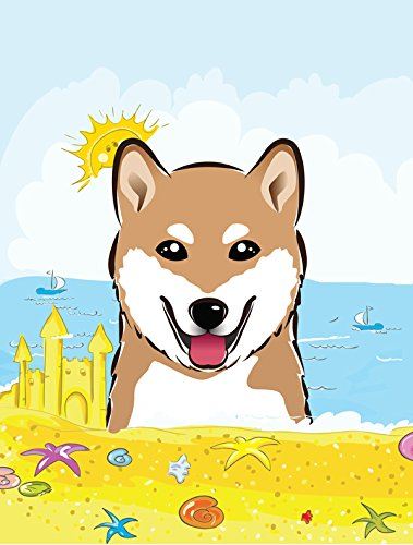Caroline's Treasures BB2093GF Shiba Inu Summer Beach Garden Flag, Small, Multicolor