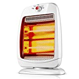 HM&DX Infrared Electric Quartz Space Heater, Radiant Oscillating Tip-Over Protection 2 Heat Setting Halogen Heater for Home Office-White
