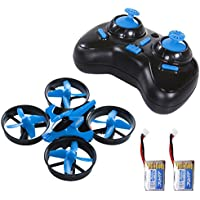 SGILE Mini RC UFO Quadcopter Nano Drone with 2 Free Batteries, 360° Flip One Key Return/Rotation Recover Balance Headless Mode, 2.4GHz 4CH 6 Axis for Kids (Blue)