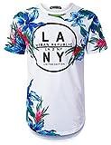 URBANTOPS Mens Hipster Hip Hop LA NY Blue Floral Longline T-Shirt White, L