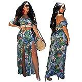 Women's Floral Print Split 2 Piece Crop Top +Maxi Long Skirt Set Bandage Beach Outfit Boho Dress (Green, M)