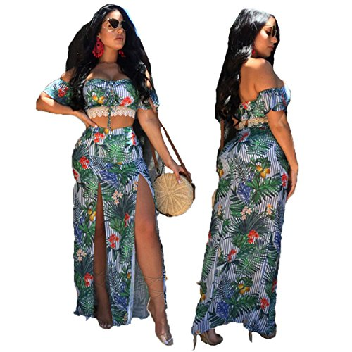 Women's Floral Print Split 2 Piece Crop Top +Maxi Long Skirt Set Bandage Beach Outfit Boho Dress (Green, M) by YT couple
