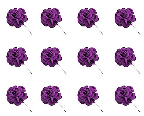 (ZAKIA 12pcs Men's Flower Lapel Pin Brooch Handmade Boutonniere for Suit Wholesale Lot (Bright Purple))