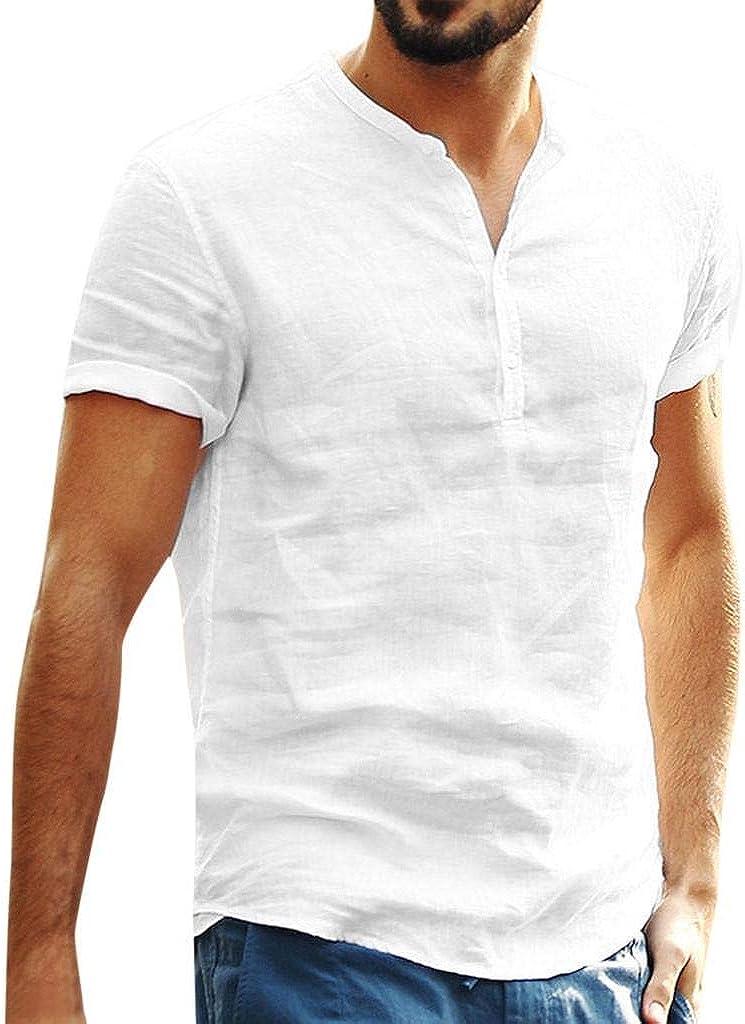 Camisa Lino Hombre Casua SHOBDW 2020 Nuevo Camisetas Hombre Manga Corta Color Sólido Tops Cuello Pico Slim Fit Blusas Hombre Verano