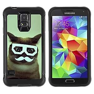 LASTONE PHONE CASE / Suave Silicona Caso Carcasa de Caucho Funda para Samsung Galaxy S5 SM-G900 / Handlebar Siamese Cat Glasses Funny