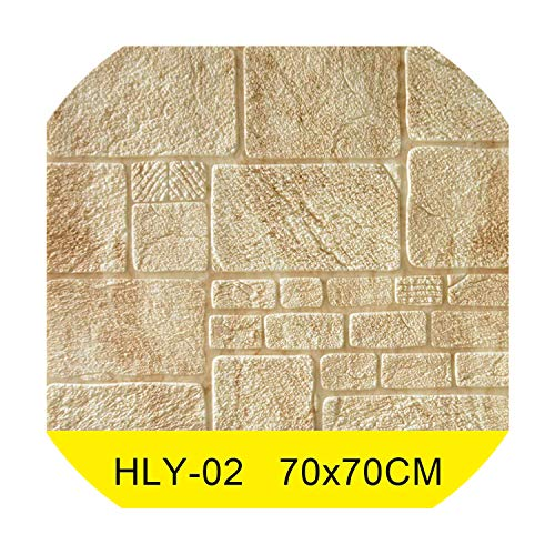 Foam 3D Wall Stickers Stone Pattern Self Adhesive Wallpaper Living Room Home Decor for Kids Bedroom TV Background Brick Sticker,HLY-02,70cm x 70cm -