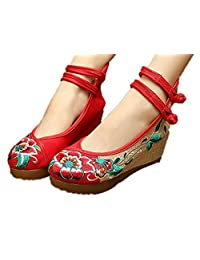 ZYZF Women Chinese Dancewear Embroidered Oxfords Rubber Sole Mary Jane Dance Flat Shoes
