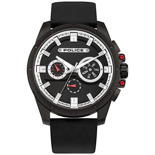Police Men's Analogue Quartz Watch With Black Leather Strap PL95046AEU/02A