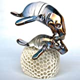 Blown Glass Manatee and Calf Figurine on Coral