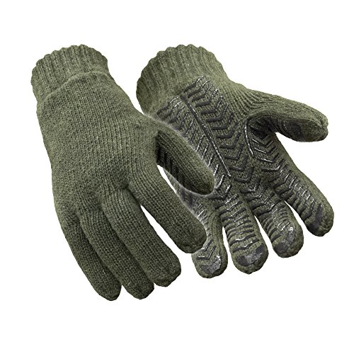 (RefrigiWear Thinsulate Insulated Fleece Lined 100% Ragg Wool Grip Gloves (Green,)