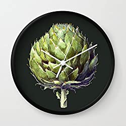 Society6 Arthur The Artichoke Wall Clock Black Frame, White Hands