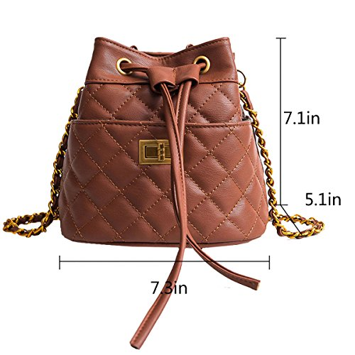 Shoulder Bucket Drawstring Crossbody Bags Brown LABANCA Plaid Chain with Bag Small Matel Rhombus Purse Womens YwgaqAF