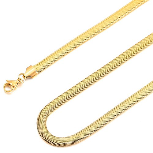 MOWOM Gold Tone 6.0mm Wide Stainless Steel Necklace Snake Chain Link 14~40 Inch