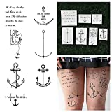 Tattify Anchors And Quote Temporary Tattoos - Anchored (Set of 14) Long Lasting, Waterproof, Fashionable Fake Tattoos
