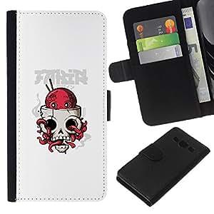LECELL--Cuero de la tarjeta la carpeta del tirón Smartphone Slots Protección Holder For Samsung Galaxy A3 -- Pulpo cráneo --