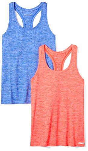 Amazon Essentials Women's 2-Pack Tech Stretch Racerback Tank Top, Fiery Coral Cobalt Heather, Medium (Name Clothing Brand Women)