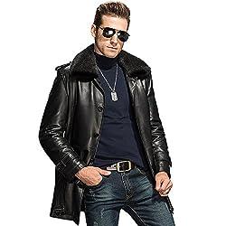 Men Luxury Genuine Fur Coat Men's Mink Lapel Long Coat Black Mink Fur Lined Coat For Men Tj16 (Xl, Black)