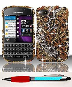 Accessory Factory(TM) Bundle (the item, 2in1 Stylus Point Pen) For Blackberry Q10 (AT&T Sprint T-Mobile Verizon) Full Diamond Design Case Cover Protector - Cheetah FPD Stylish Bling Snap On Hard Faceplate Shell