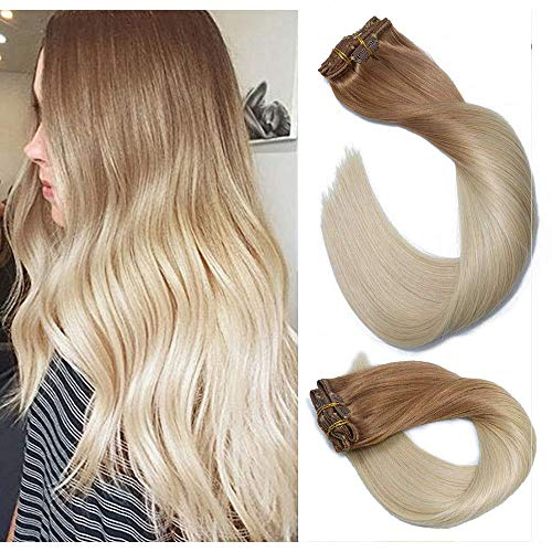 Clip In Hair Extensions Human Hair Ombre Hair Golden Brown Fading to Platinum Blonde Brazilian Hair 120g 7pcs Per Set Remy Hair Full Head Silky Straight Human Hair Clip In -