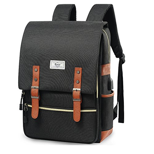 Unisex College Bag Fits up to 15.6'' Laptop Casual Rucksack Waterproof School Backpack Daypacks with USB Charging Port (Black)