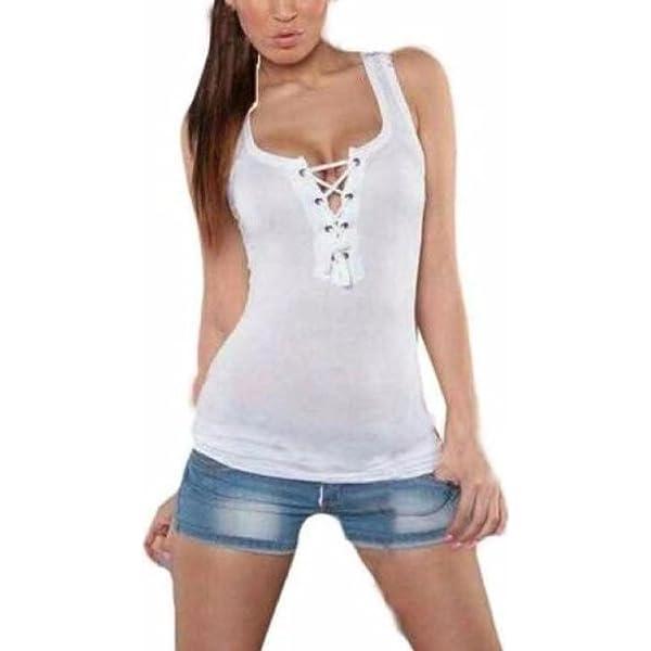 LILICAT Camisetas sin Mangas Mujer, Camisetas del Vendaje del Cordón Verano 2018, Chalecos Tirantes Deportivos Sexy de Moda Blusas Tops de Vestir Mujer - Algodón (M, Blanco): Amazon.es: Deportes y aire libre