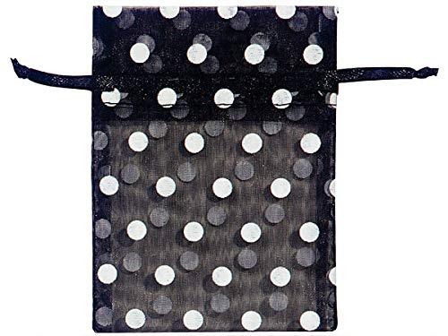 Sheer Printed Polka Dot Organza Bags- Black & White Dots 3x4 Polka Dot Organza Bags (12 Packs; 10 Bags Per Pack) - WRAPS-B52139