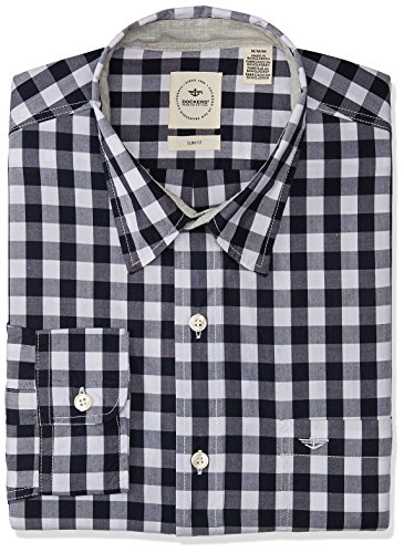 Dockers Long Sleeve Alpha Laudered Camisa Casual para Hombre, Helm Laundered Pembroke, Chico