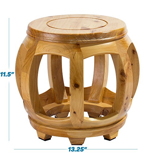 Frisby Decorative Hardwood Birch Footstool Water Resistant Multipurpose Durable Sturdy Non-Slip Surface and Feet Wooden Round Step Stool for Living/Bedroom Patio, Light and Dark Available, Light Wood by Frisby (Image #1)